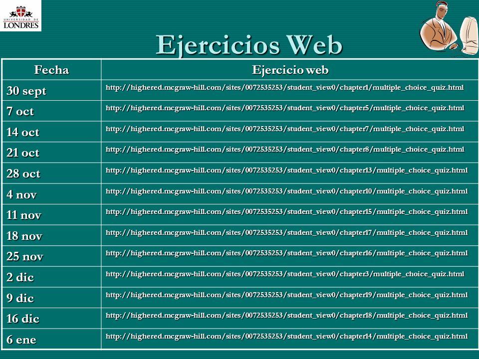 M. En C. Eduardo Bustos Farías18 Ejercicios Web Fecha Ejercicio web 30 sept http://highered.mcgraw-hill.com/sites/0072535253/student_view0/chapter1/mu