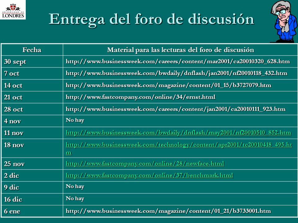 M. En C. Eduardo Bustos Farías23 Entrega del foro de discusión Fecha Material para las lecturas del foro de discusión 30 sept http://www.businessweek.
