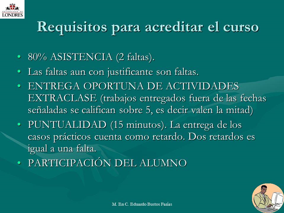 M. En C. Eduardo Bustos Farías27 Requisitos para acreditar el curso 80% ASISTENCIA (2 faltas).80% ASISTENCIA (2 faltas). Las faltas aun con justifican