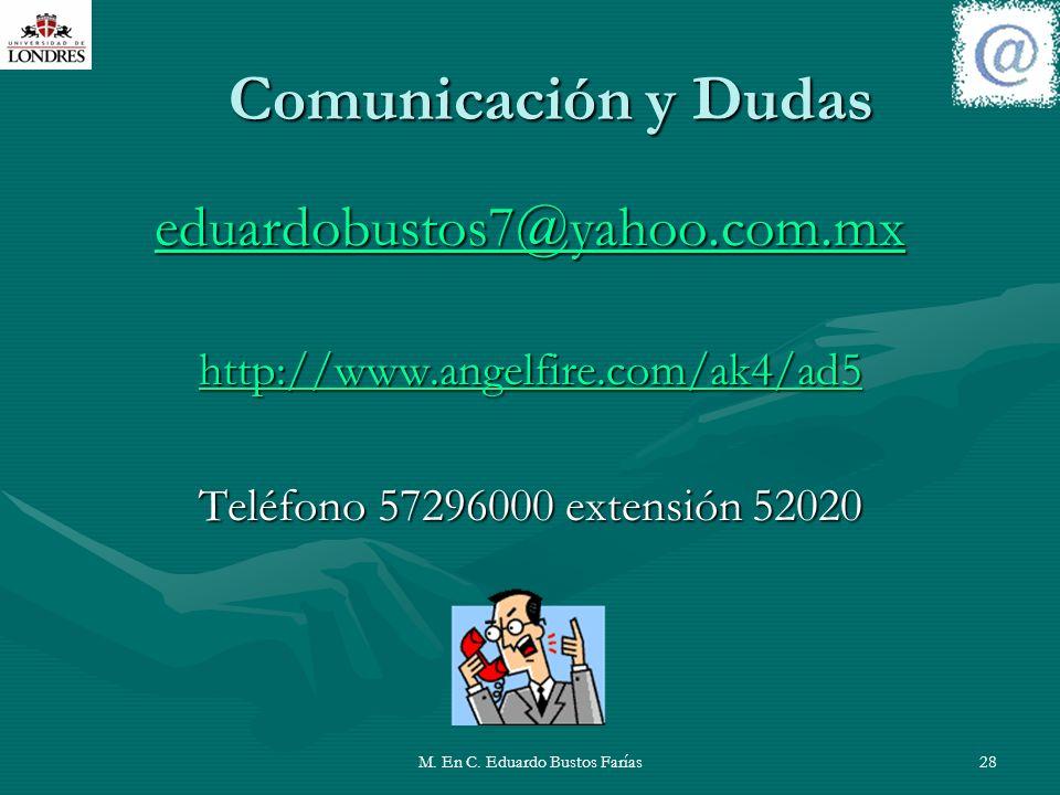 M. En C. Eduardo Bustos Farías28 Comunicación y Dudas eduardobustos7@yahoo.com.mx http://www.angelfire.com/ak4/ad5 Teléfono 57296000 extensión 52020