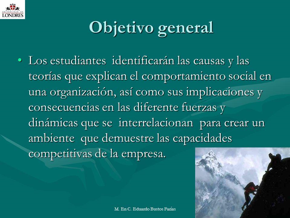 M. En C. Eduardo Bustos Farías4 Objetivo general Los estudiantes identificarán las causas y las teorías que explican el comportamiento social en una o