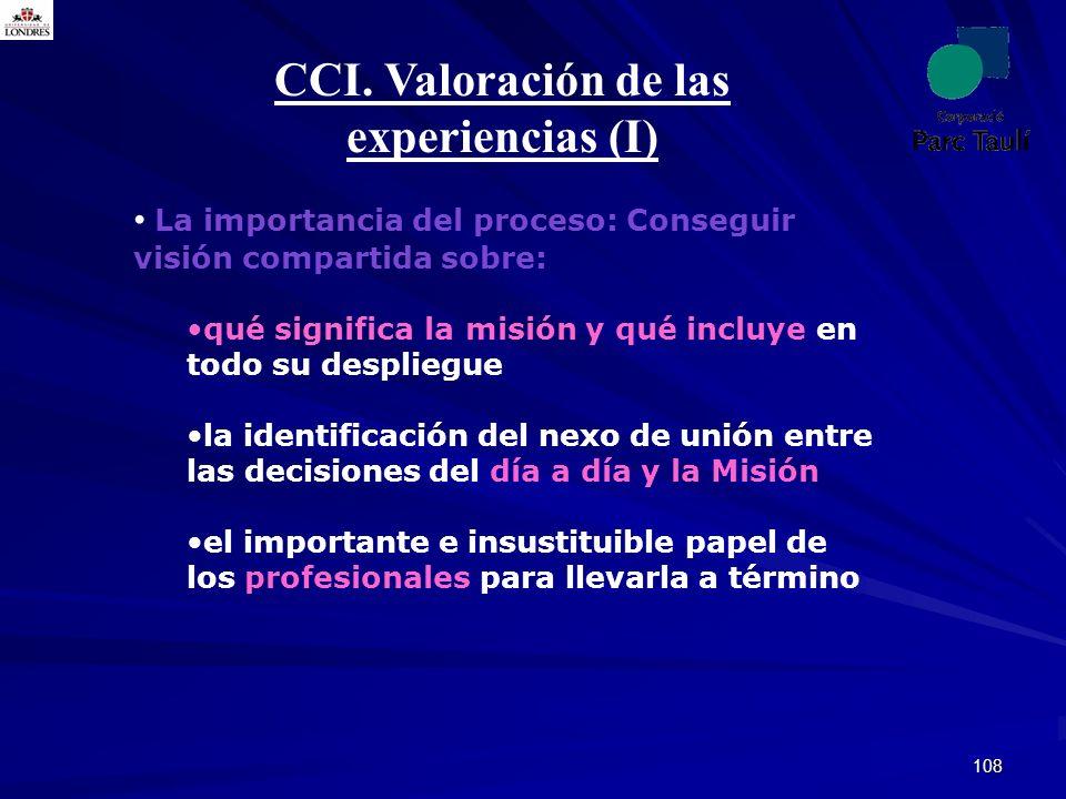 108 CCI. Valoración de las experiencias (I) La importancia del proceso: Conseguir visión compartida sobre: qué significa la misión y qué incluye en to