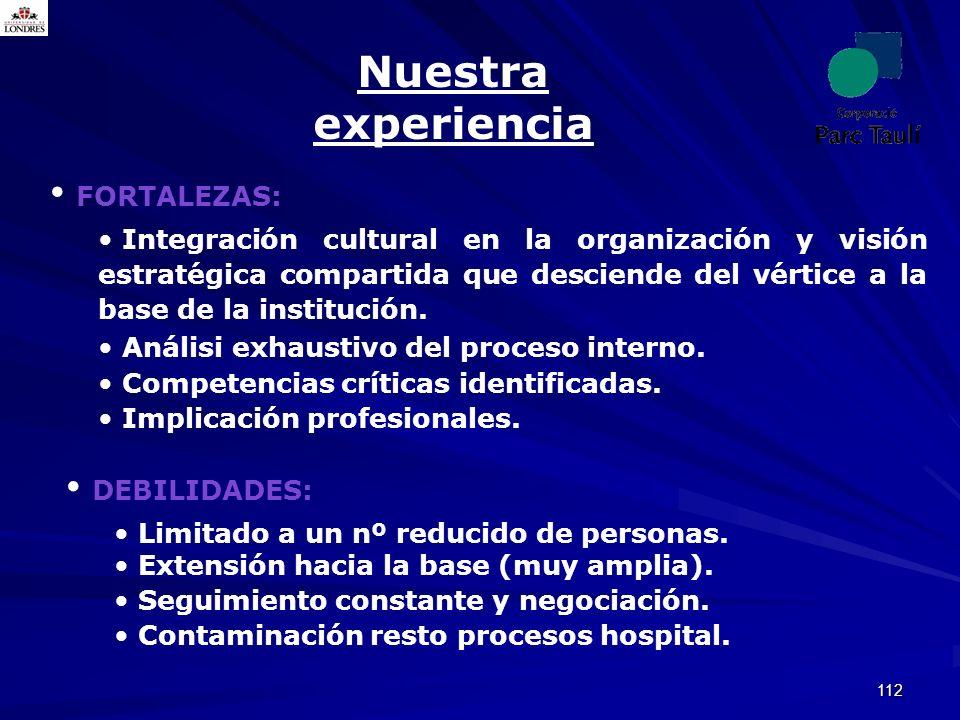 112 Nuestra experiencia FORTALEZAS: Integración cultural en la organización y visión estratégica compartida que desciende del vértice a la base de la