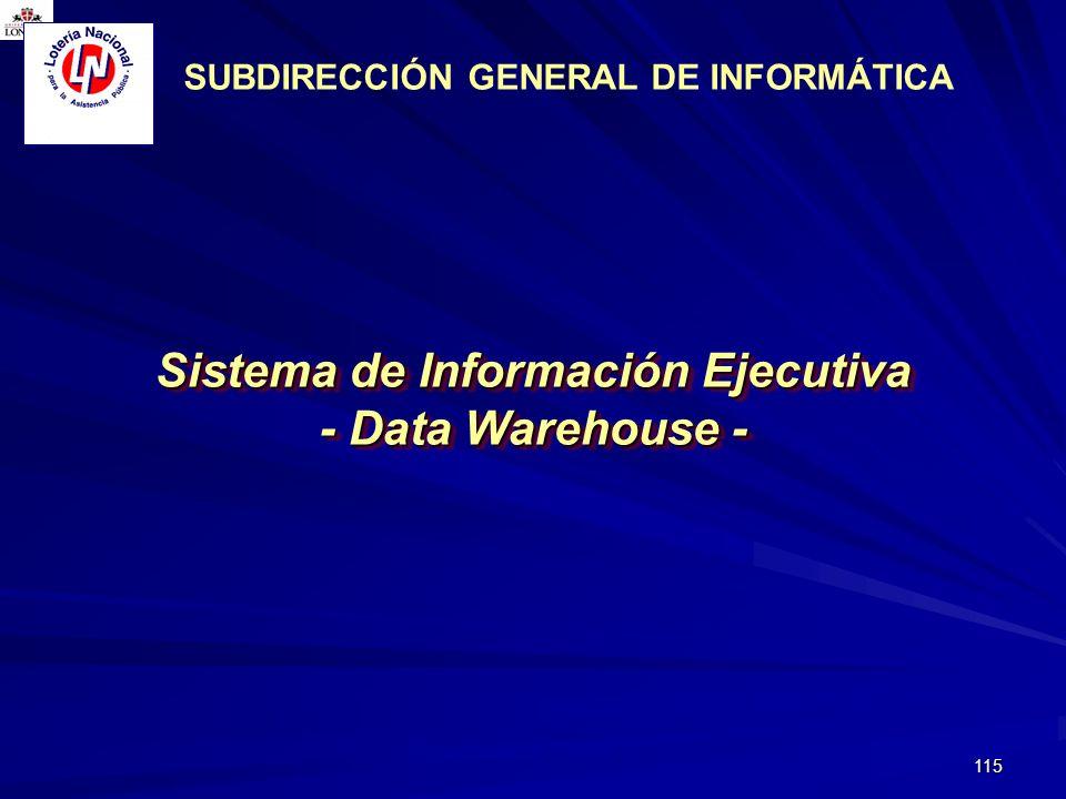 115 Sistema de Información Ejecutiva - Data Warehouse - Sistema de Información Ejecutiva - Data Warehouse - Noviembre 2003 SUBDIRECCIÓN GENERAL DE INF