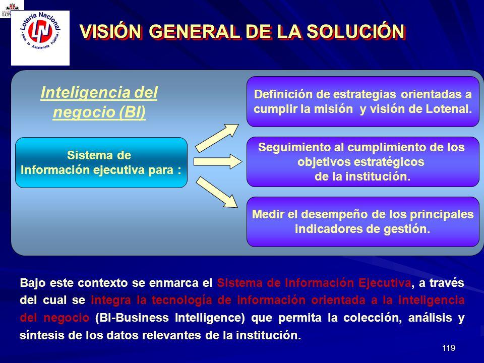 119 Bajo este contexto se enmarca el Sistema de Información Ejecutiva, a través del cual se integra la tecnología de información orientada a la inteli