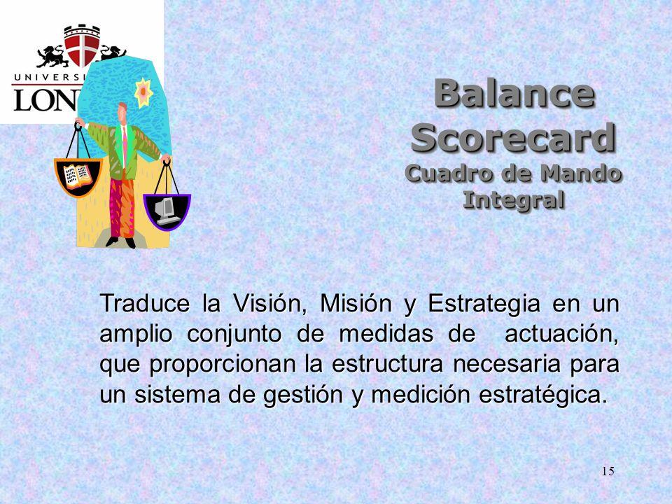 15 Balance Scorecard Cuadro de Mando Integral Traduce la Visión, Misión y Estrategia en un amplio conjunto de medidas de actuación, que proporcionan l