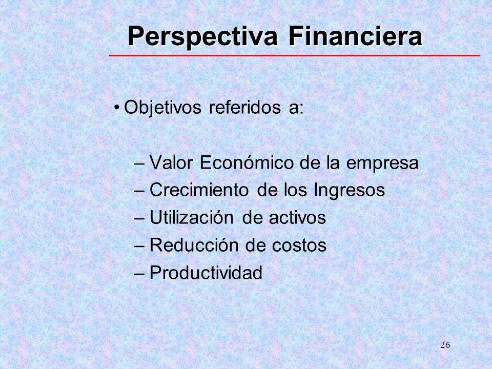 26 Perspectiva Financiera Objetivos referidos a: –Valor Económico de la empresa –Crecimiento de los Ingresos –Utilización de activos –Reducción de cos