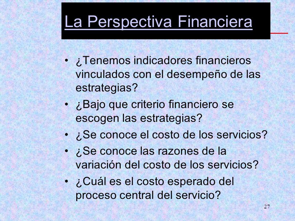 27 La Perspectiva Financiera ¿Tenemos indicadores financieros vinculados con el desempeño de las estrategias? ¿Bajo que criterio financiero se escogen