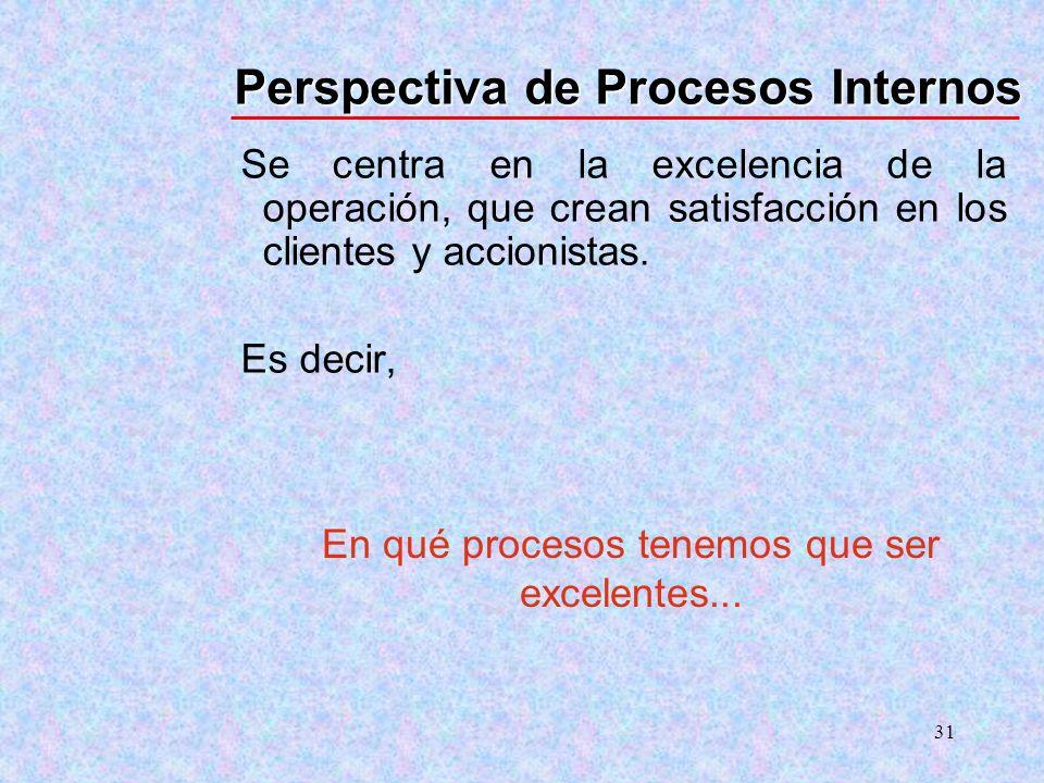 31 Perspectiva de Procesos Internos Se centra en la excelencia de la operación, que crean satisfacción en los clientes y accionistas. Es decir, En qué