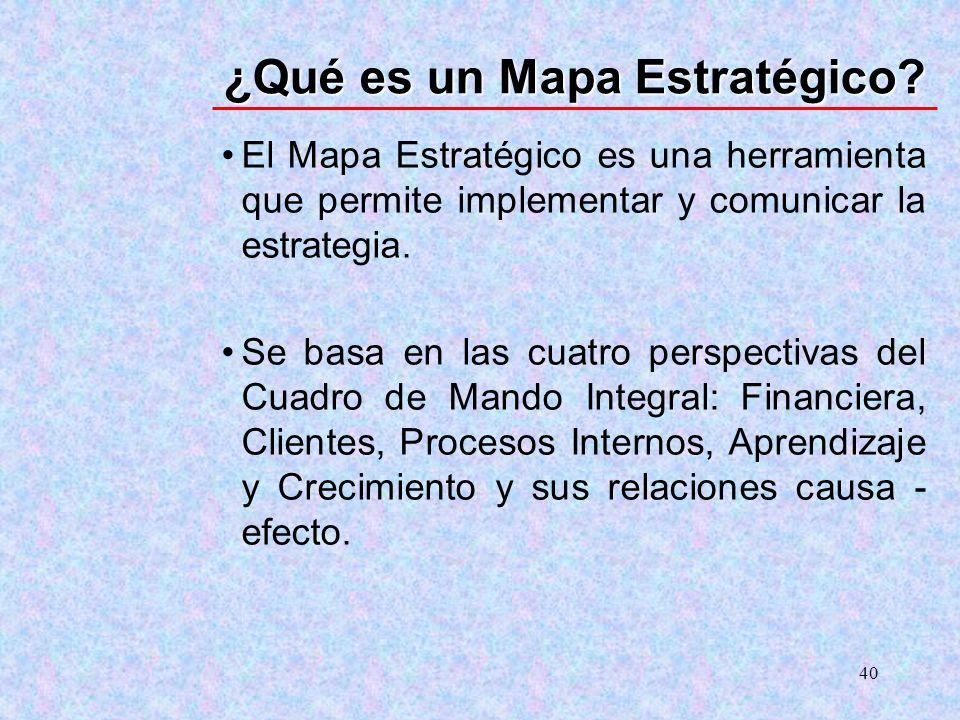 40 ¿Qué es un Mapa Estratégico? El Mapa Estratégico es una herramienta que permite implementar y comunicar la estrategia. Se basa en las cuatro perspe
