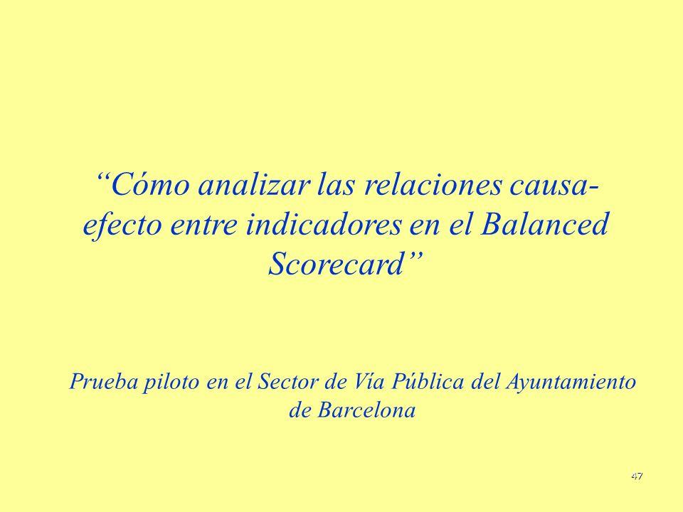 47 Cómo analizar las relaciones causa- efecto entre indicadores en el Balanced Scorecard Prueba piloto en el Sector de Vía Pública del Ayuntamiento de