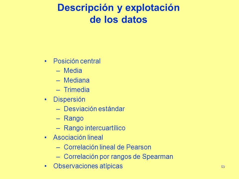 69 Descripción y explotación de los datos Posición central –Media –Mediana –Trimedia Dispersión –Desviación estándar –Rango –Rango intercuartílico Aso
