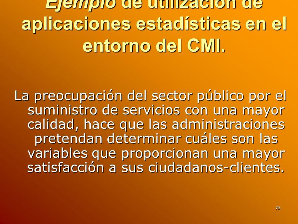 73 Ejemplo de utilización de aplicaciones estadísticas en el entorno del CMI. La preocupación del sector público por el suministro de servicios con un