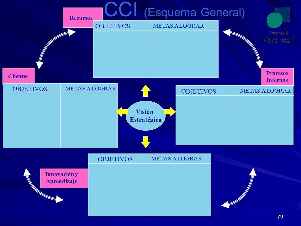 79 CCI (Esquema General) Visión Estratégica OBJETIVOS METAS A LOGRAR Procesos Internos Innovación y Aprendizaje Clientes Recursos METAS A LOGRAR © 200