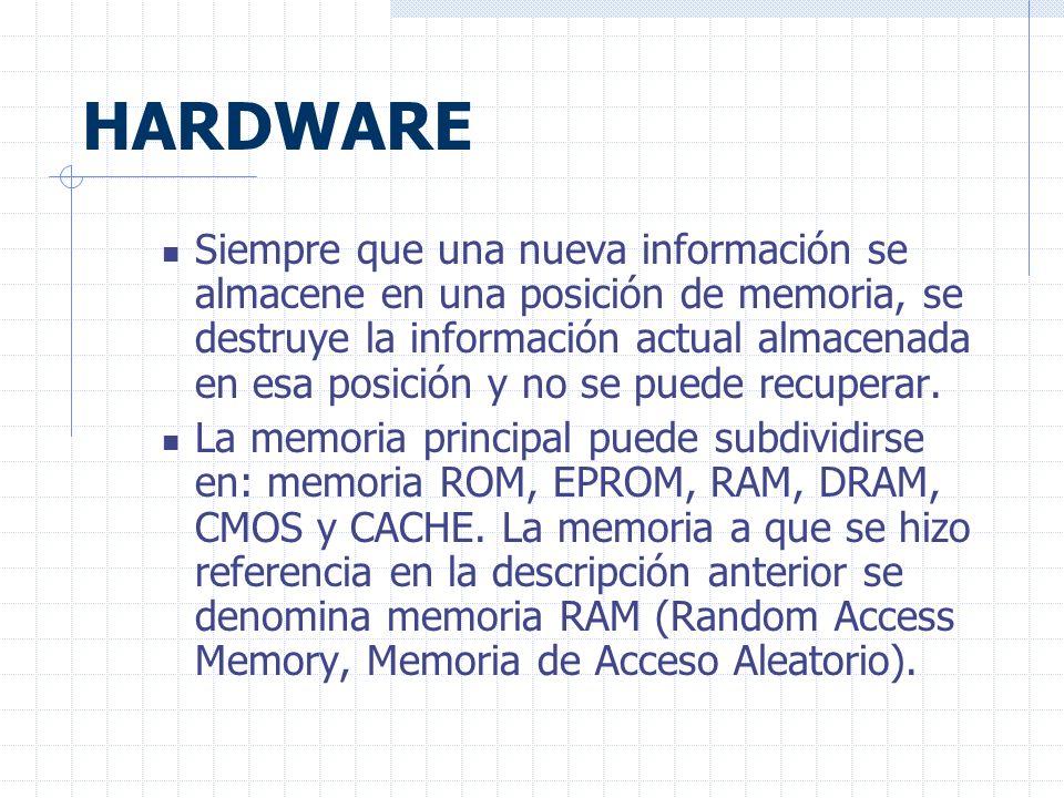 HARDWARE Siempre que una nueva información se almacene en una posición de memoria, se destruye la información actual almacenada en esa posición y no se puede recuperar.