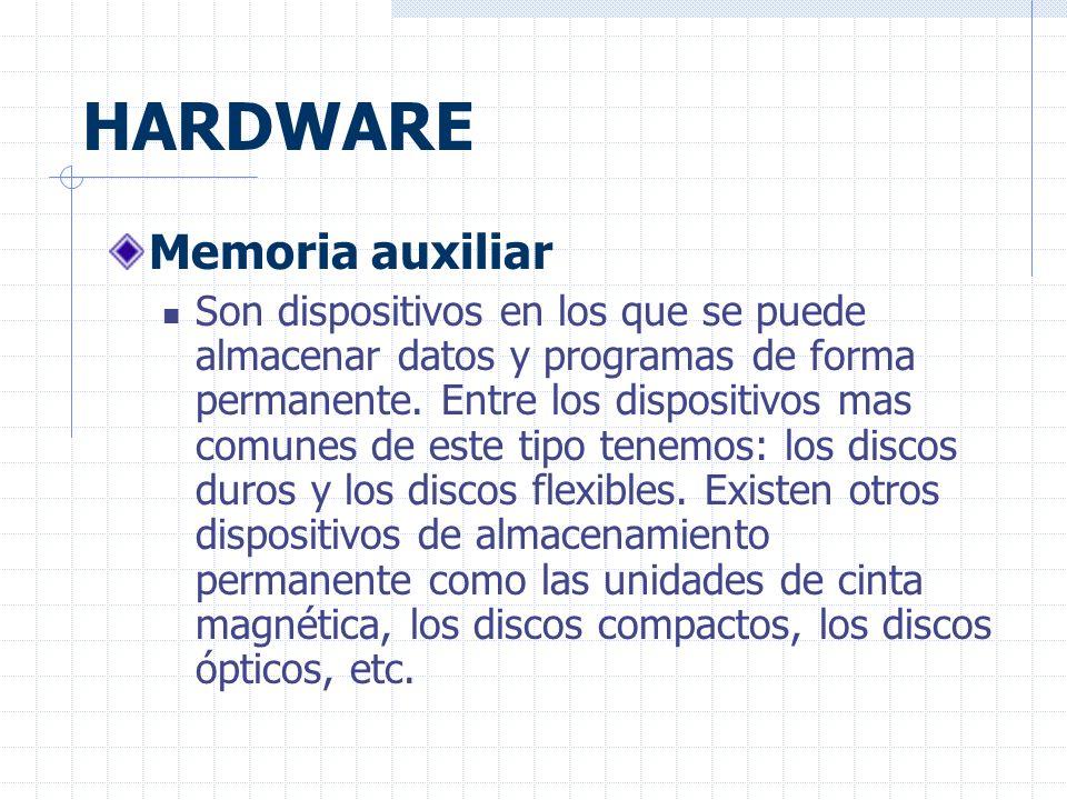 HARDWARE Memoria auxiliar Son dispositivos en los que se puede almacenar datos y programas de forma permanente.