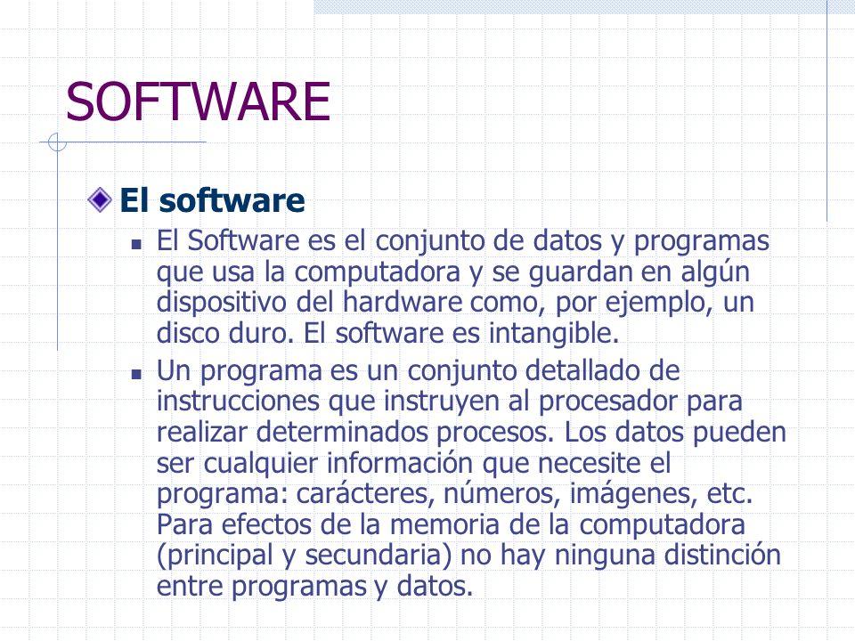 SOFTWARE El software El Software es el conjunto de datos y programas que usa la computadora y se guardan en algún dispositivo del hardware como, por ejemplo, un disco duro.