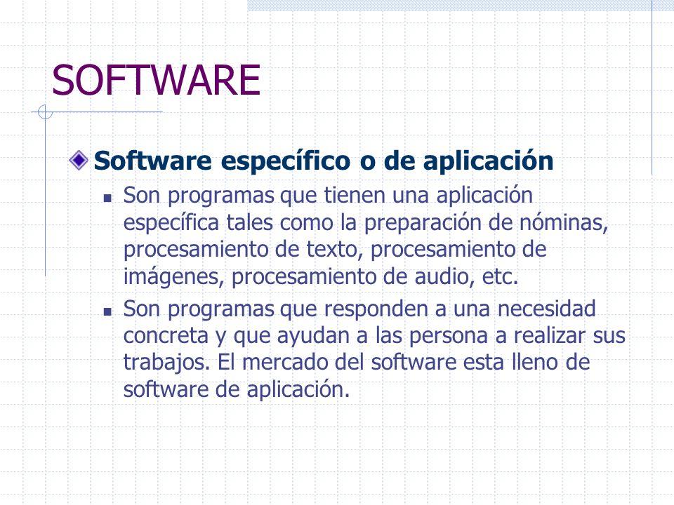 SOFTWARE Software específico o de aplicación Son programas que tienen una aplicación específica tales como la preparación de nóminas, procesamiento de texto, procesamiento de imágenes, procesamiento de audio, etc.