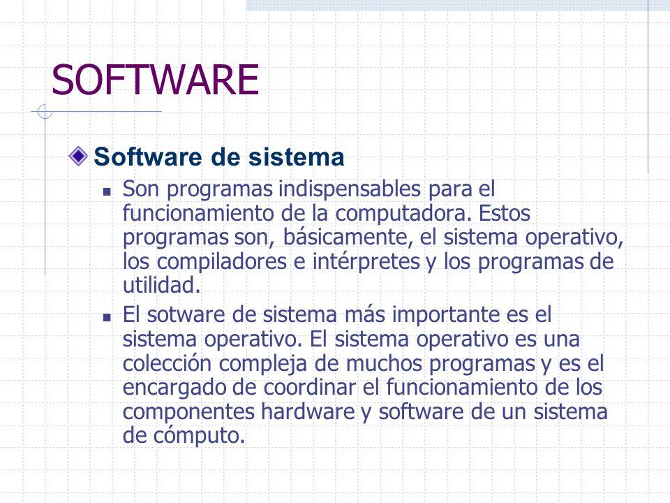 SOFTWARE Software de sistema Son programas indispensables para el funcionamiento de la computadora.