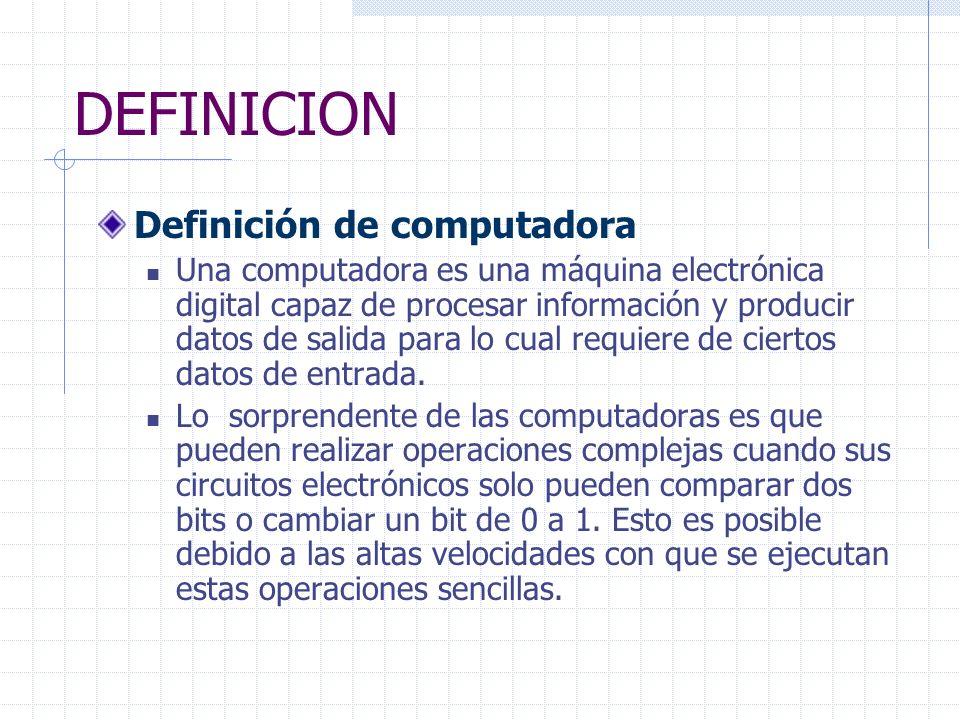 DEFINICION Definición de computadora Una computadora es una máquina electrónica digital capaz de procesar información y producir datos de salida para lo cual requiere de ciertos datos de entrada.