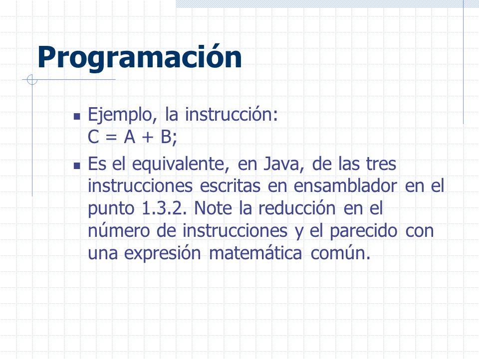 Programación Ejemplo, la instrucción: C = A + B; Es el equivalente, en Java, de las tres instrucciones escritas en ensamblador en el punto 1.3.2.