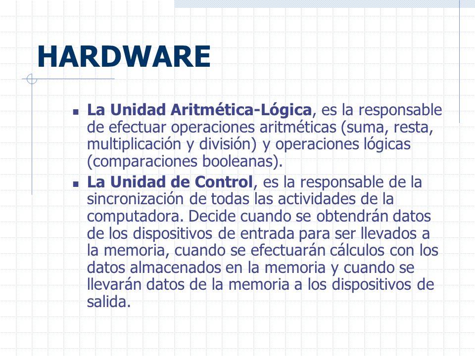HARDWARE La Unidad Aritmética-Lógica, es la responsable de efectuar operaciones aritméticas (suma, resta, multiplicación y división) y operaciones lógicas (comparaciones booleanas).