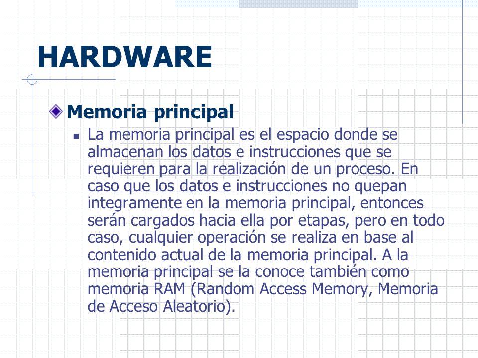 HARDWARE Memoria principal La memoria principal es el espacio donde se almacenan los datos e instrucciones que se requieren para la realización de un proceso.