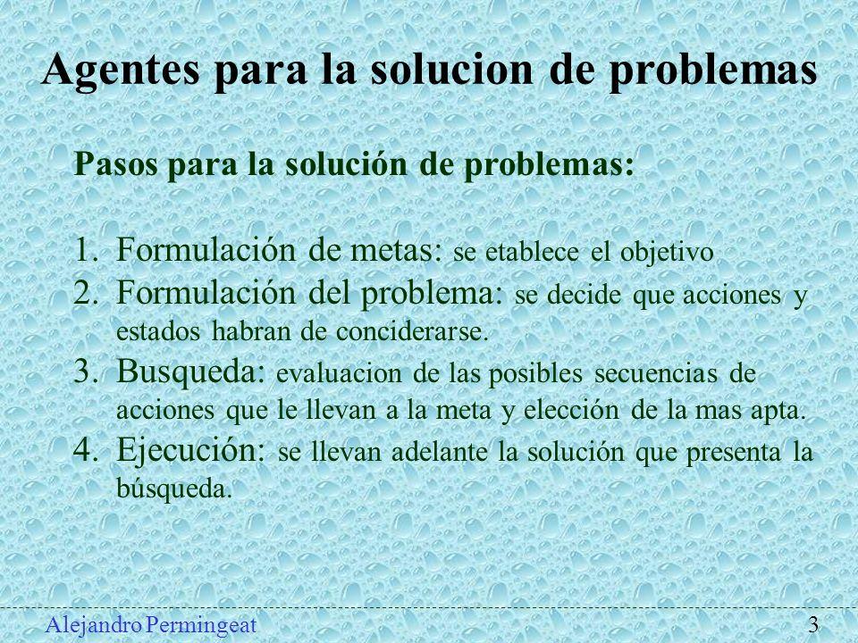 Agentes para la solucion de problemas Pasos para la solución de problemas: 1.Formulación de metas: se etablece el objetivo 2.Formulación del problema: