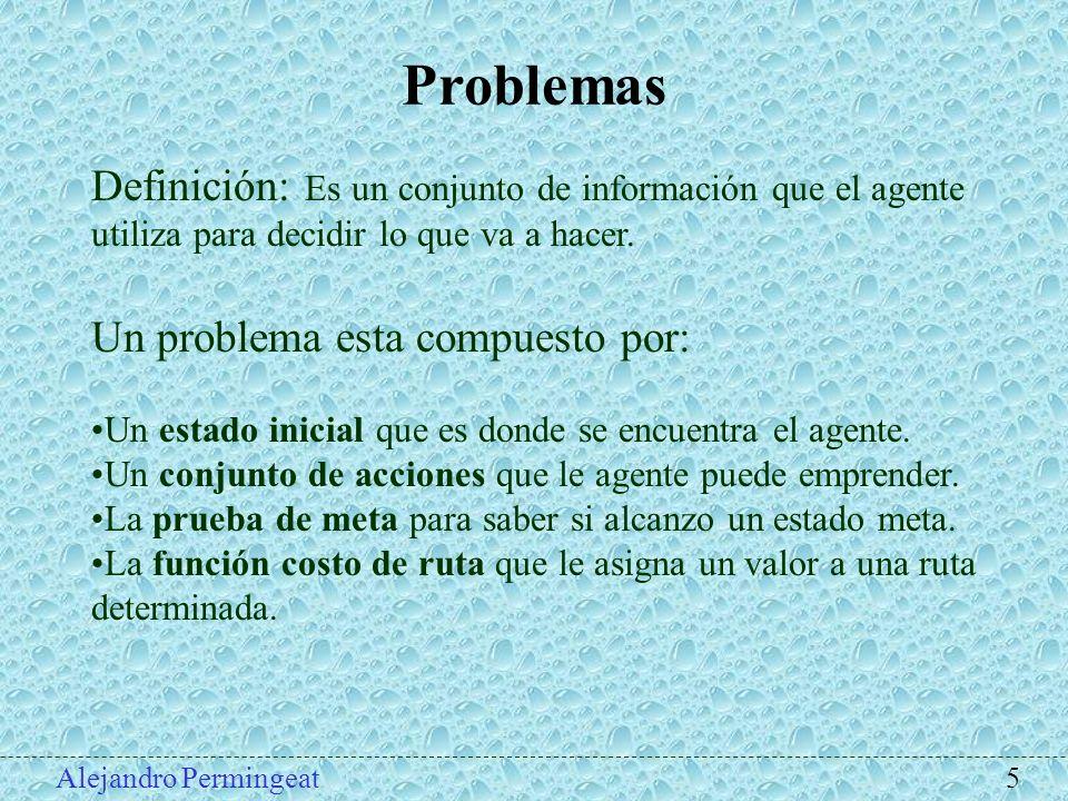Alejandro Permingeat 5 Problemas Definición: Es un conjunto de información que el agente utiliza para decidir lo que va a hacer. Un problema esta comp