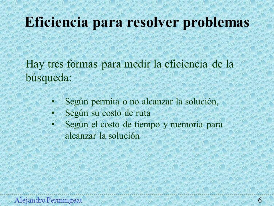 Alejandro Permingeat 6 Eficiencia para resolver problemas Hay tres formas para medir la eficiencia de la búsqueda: Según permita o no alcanzar la solu