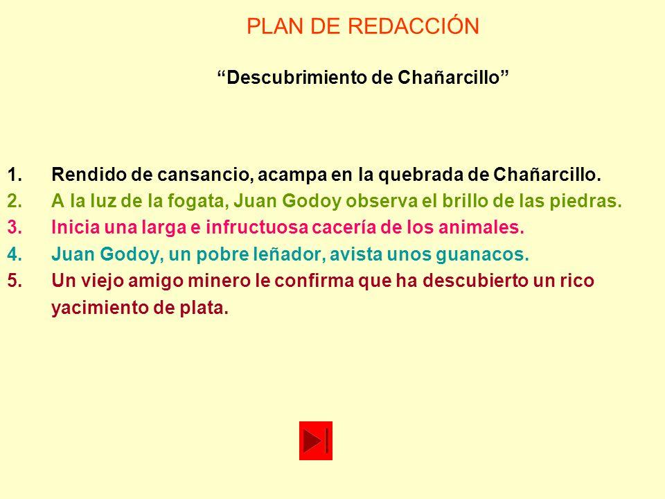 PLAN DE REDACCIÓN Descubrimiento de Chañarcillo 4.Juan Godoy, un pobre leñador, avista unos guanacos.