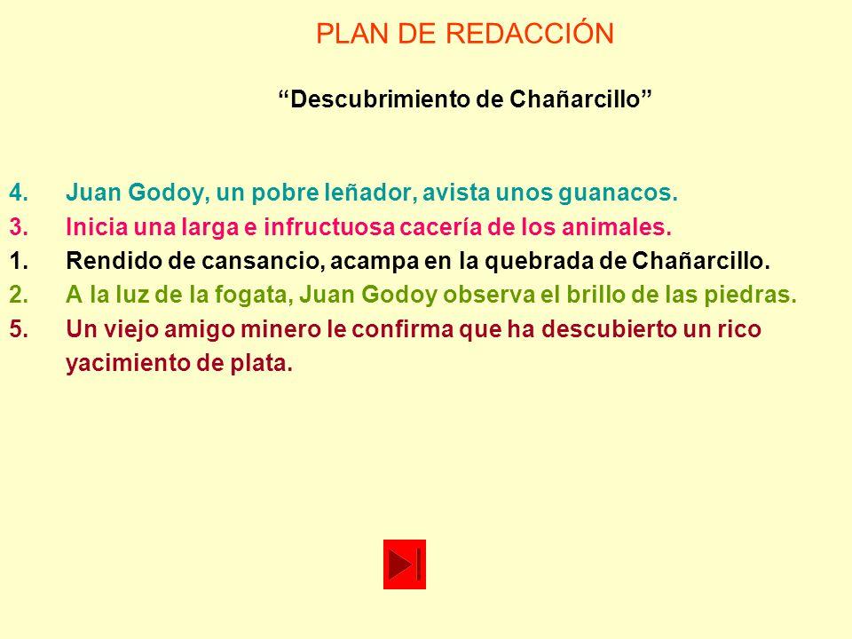 PLAN DE REDACCIÓN Descubrimiento de Chañarcillo 4.Juan Godoy, un pobre leñador, avista unos guanacos. 3.Inicia una larga e infructuosa cacería de los