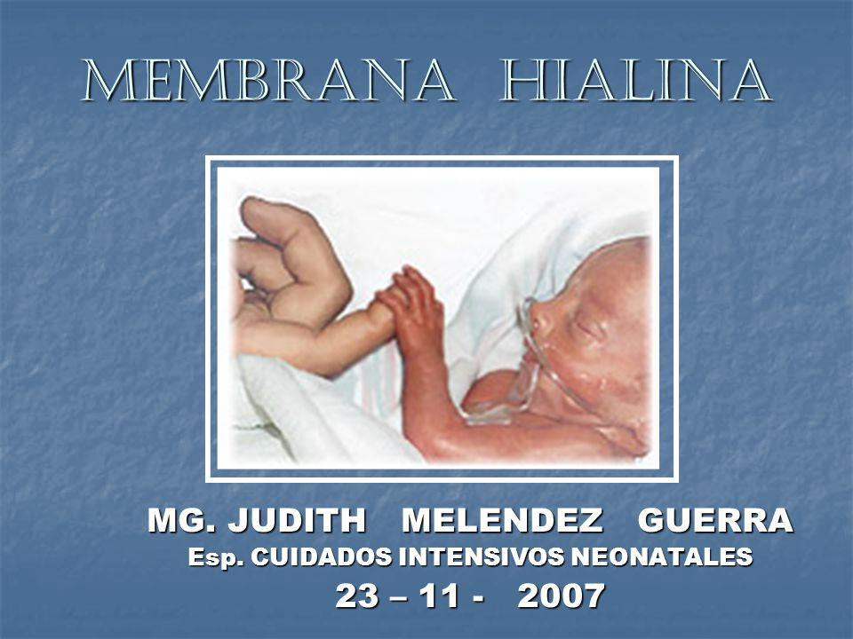 MEMBRANA HIALINA MG. JUDITH MELENDEZ GUERRA Esp. CUIDADOS INTENSIVOS NEONATALES 23 – 11 - 2007