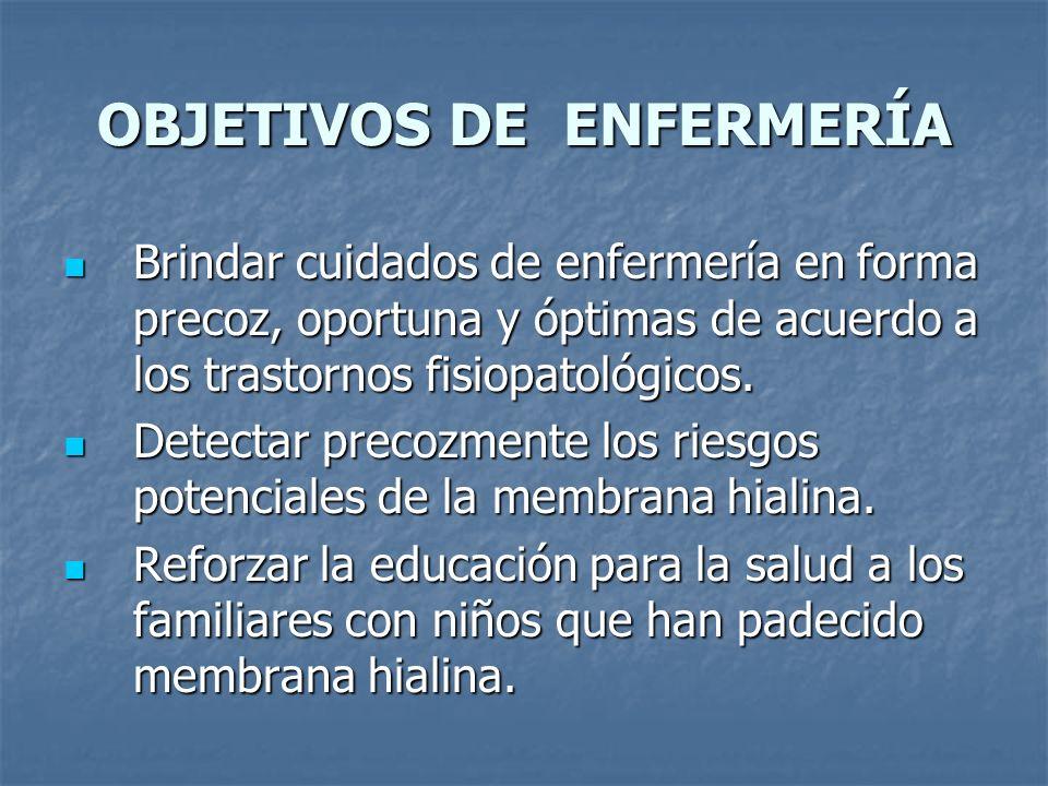 PROCESO DE ATENCION DE ENFERMERÍA EN MEMBRANA HIALINA