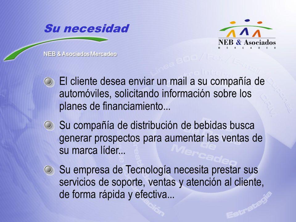 El cliente desea enviar un mail a su compañía de automóviles, solicitando información sobre los planes de financiamiento... Su compañía de distribució