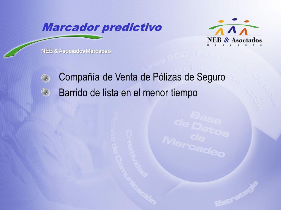 Compañía de Venta de Pólizas de Seguro Barrido de lista en el menor tiempo Marcador predictivo NEB & Asociados Mercadeo
