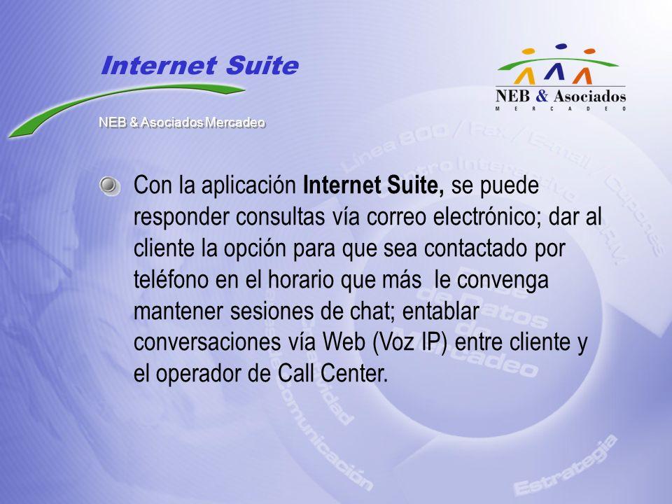 Con la aplicación Internet Suite, se puede responder consultas vía correo electrónico; dar al cliente la opción para que sea contactado por teléfono e