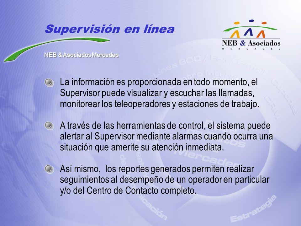 La información es proporcionada en todo momento, el Supervisor puede visualizar y escuchar las llamadas, monitorear los teleoperadores y estaciones de