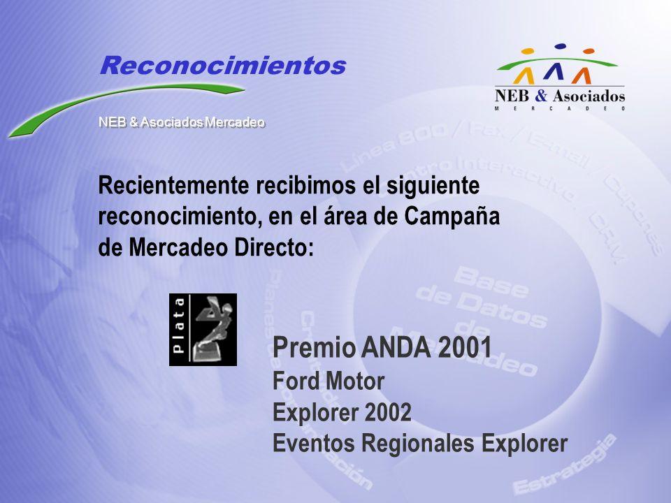 Recientemente recibimos el siguiente reconocimiento, en el área de Campaña de Mercadeo Directo: Premio ANDA 2001 Ford Motor Explorer 2002 Eventos Regi