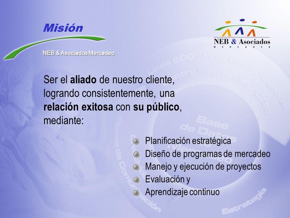 Planificación estratégica Diseño de programas de mercadeo Manejo y ejecución de proyectos Evaluación y Aprendizaje continuo Ser el aliado de nuestro c