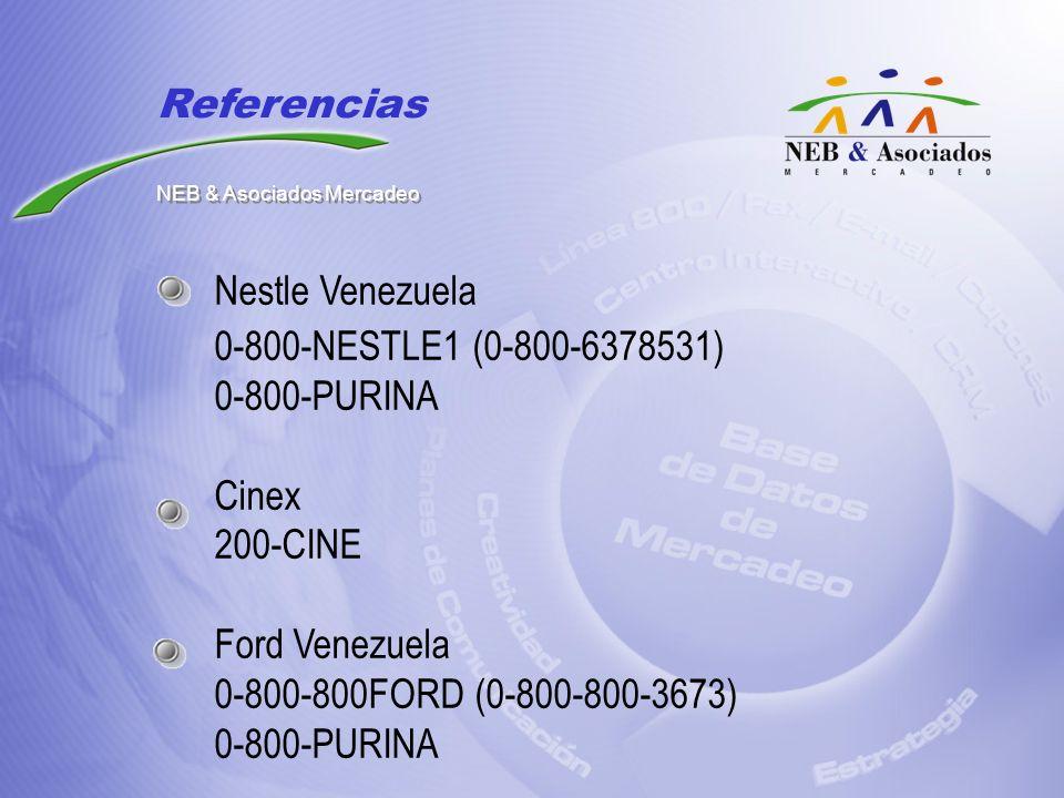 Nestle Venezuela 0-800-NESTLE1 (0-800-6378531) 0-800-PURINA Cinex 200-CINE Ford Venezuela 0-800-800FORD (0-800-800-3673) 0-800-PURINA Referencias NEB