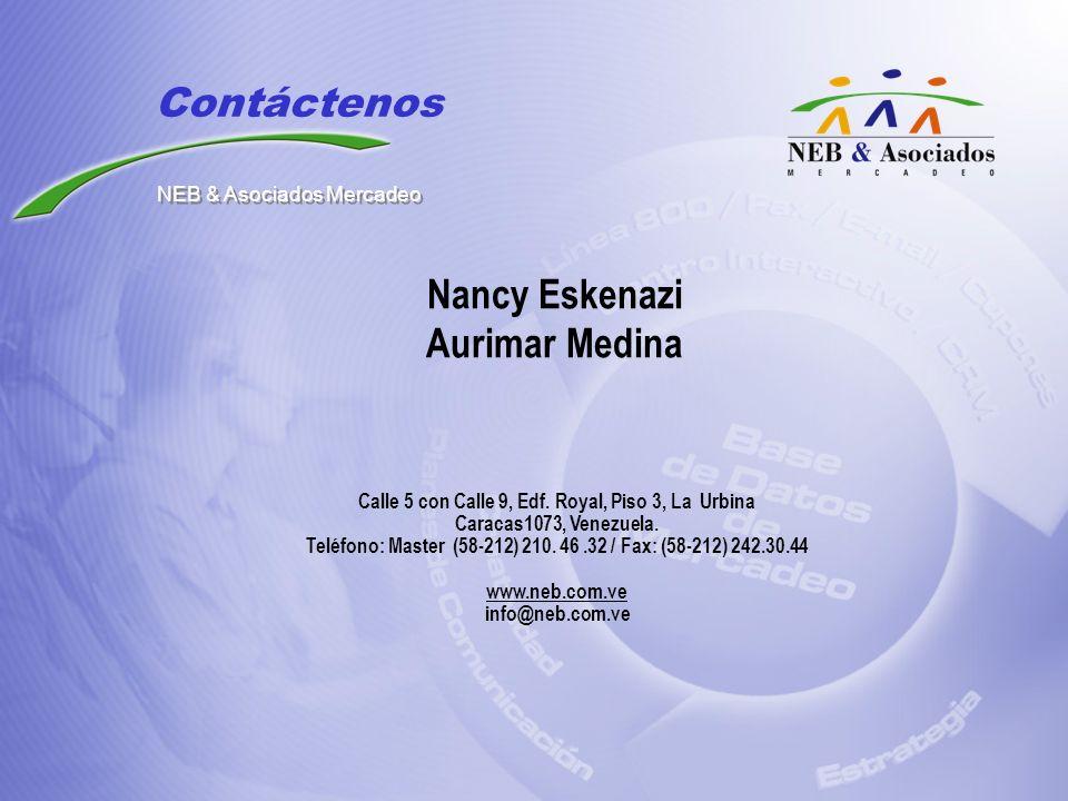 Nancy Eskenazi Aurimar Medina Calle 5 con Calle 9, Edf. Royal, Piso 3, La Urbina Caracas1073, Venezuela. Teléfono: Master (58-212) 210. 46.32 / Fax: (