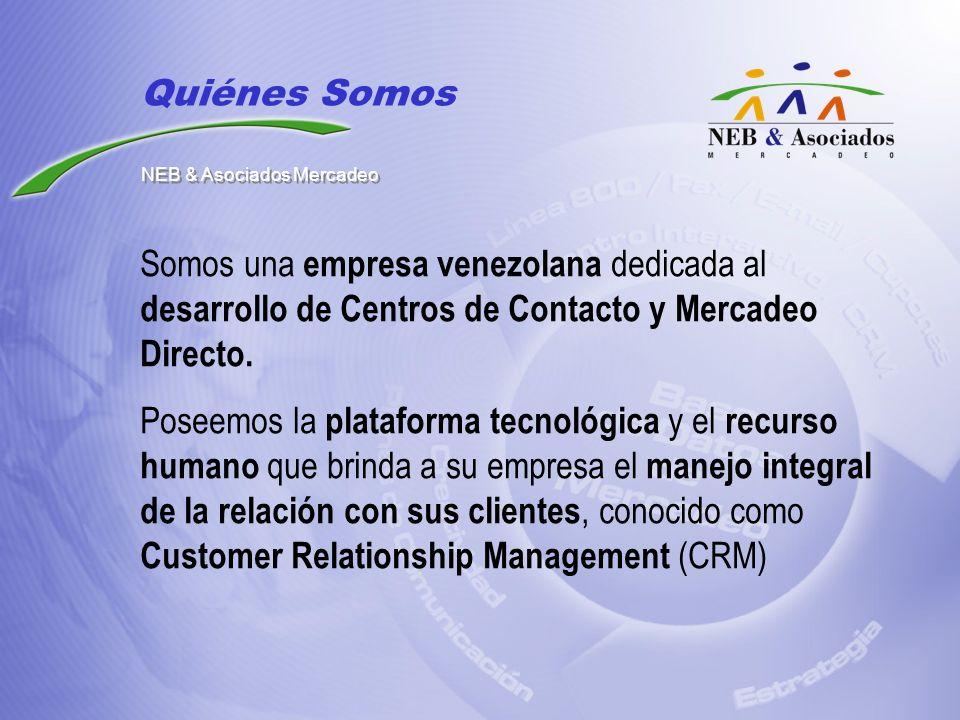 Somos una empresa venezolana dedicada al desarrollo de Centros de Contacto y Mercadeo Directo. Poseemos la plataforma tecnológica y el recurso humano