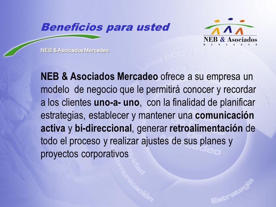 NEB & Asociados Mercadeo ofrece a su empresa un modelo de negocio que le permitirá conocer y recordar a los clientes uno-a- uno, con la finalidad de p
