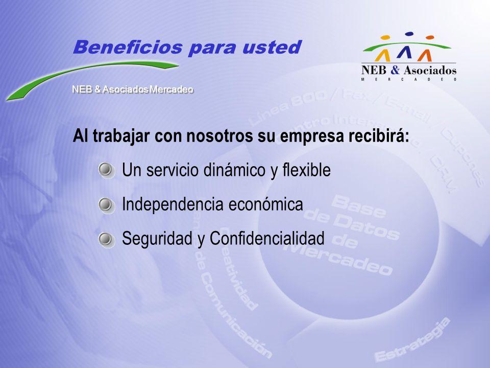 Al trabajar con nosotros su empresa recibirá: Un servicio dinámico y flexible Independencia económica Seguridad y Confidencialidad Beneficios para ust