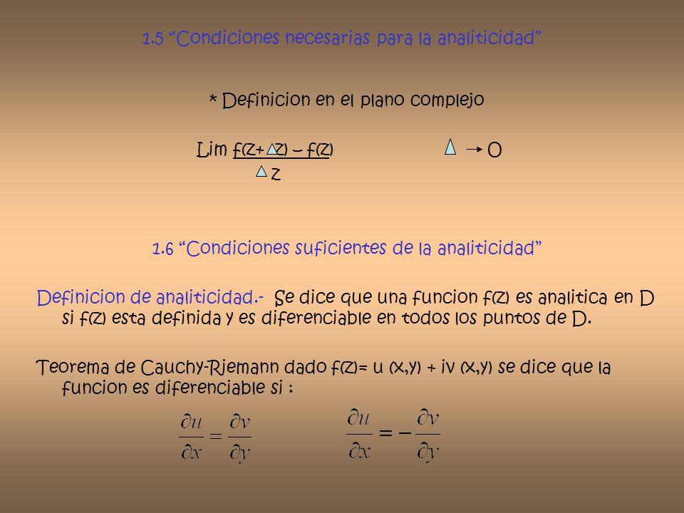 1.5 Condiciones necesarias para la analiticidad * Definicion en el plano complejo Lim f(z+ z) – f(z) O z 1.6 Condiciones suficientes de la analiticida