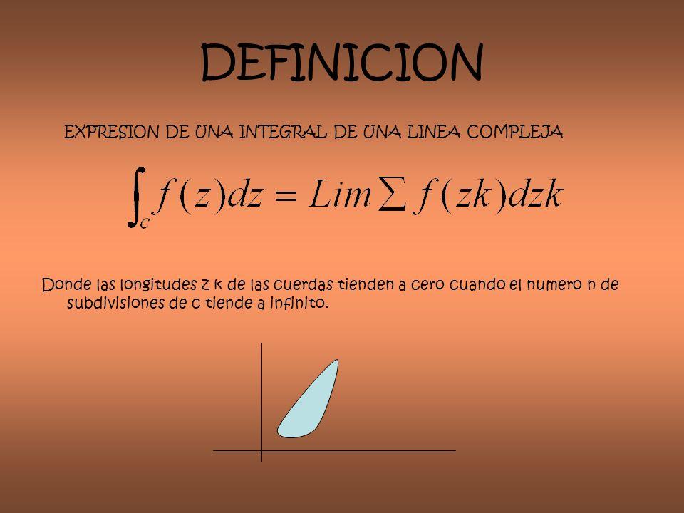 DEFINICION EXPRESION DE UNA INTEGRAL DE UNA LINEA COMPLEJA Donde las longitudes z k de las cuerdas tienden a cero cuando el numero n de subdivisiones