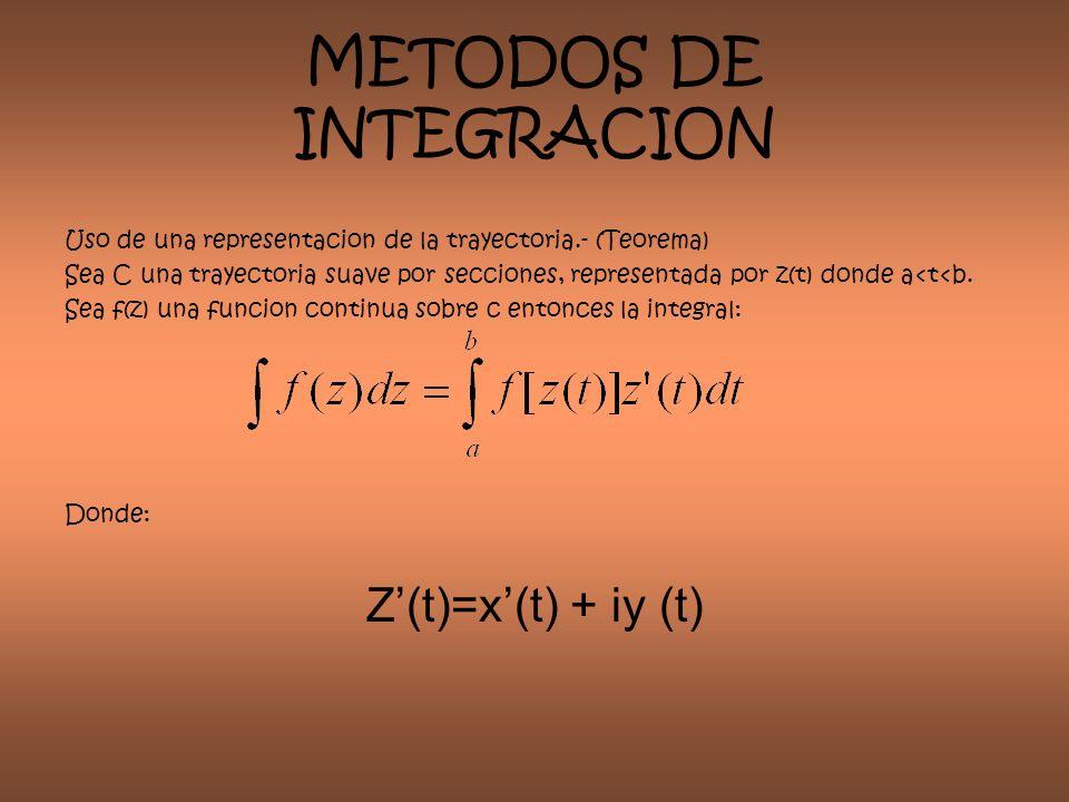 METODOS DE INTEGRACION Uso de una representacion de la trayectoria.- (Teorema) Sea C una trayectoria suave por secciones, representada por z(t) donde