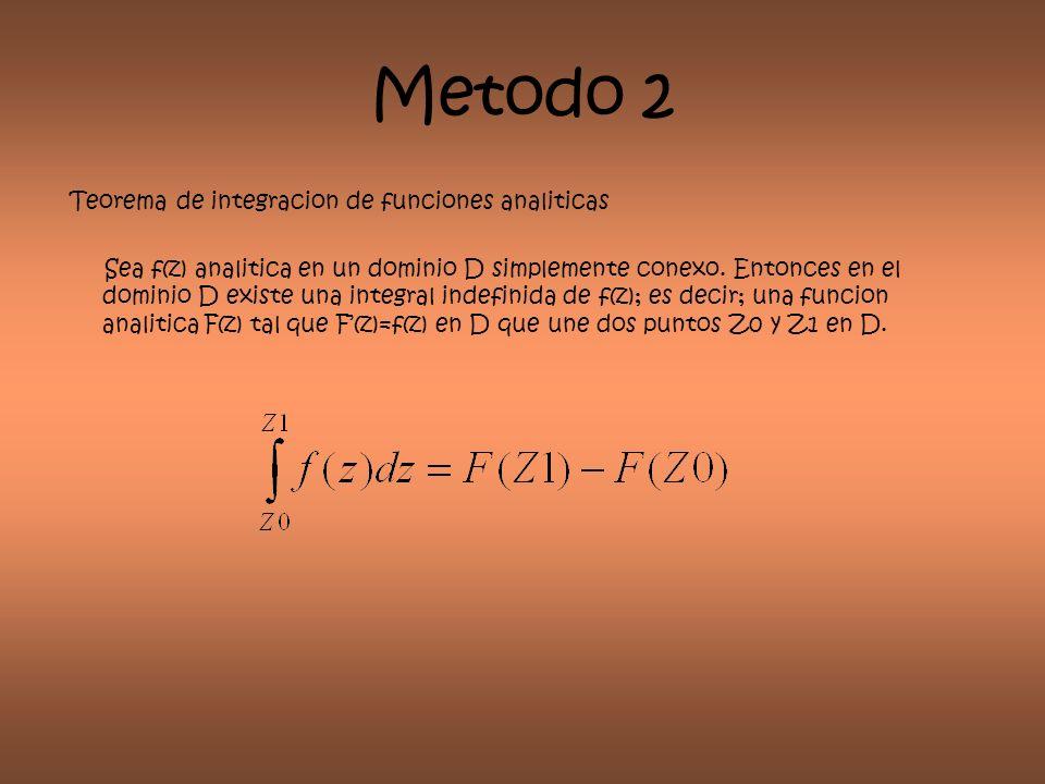 Metodo 2 Teorema de integracion de funciones analiticas Sea f(z) analitica en un dominio D simplemente conexo. Entonces en el dominio D existe una int