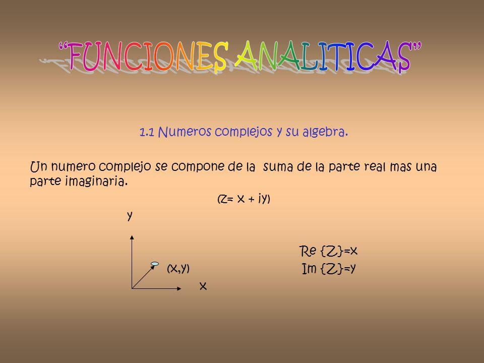 1.1 Numeros complejos y su algebra. Un numero complejo se compone de la suma de la parte real mas una parte imaginaria. (z= x + iy) y Re {Z}=x (x,y) I